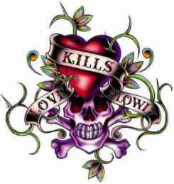Ed Hardy Aufkleber Love kills slowly