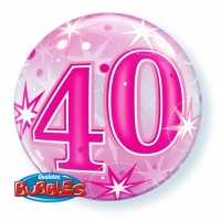 Single Bubble Happy Birthday 40 Pink
