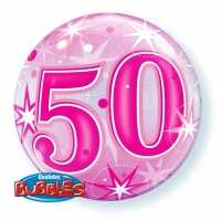 Single Bubble Happy Birthday 50 Pink