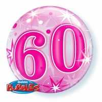 Single Bubble Happy Birthday 60 Pink
