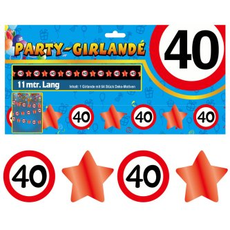 Party Glitter Girlande Zahl 40