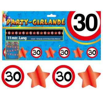 Party Glitter Girlande Zahl 30