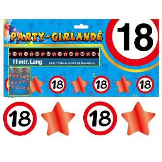 Party Glitter Girlande Zahl 18