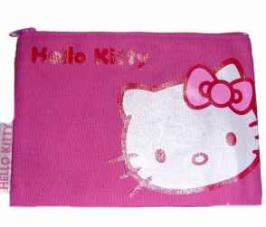 Hello Kitty - Leinentasche flach pink