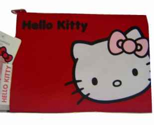 Hello Kitty - Leinentasche flach rot