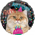 Happy Birthday Ballon mit Katze