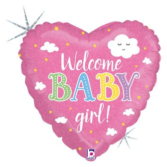 Baby Welcome Girl Herz, Ballon