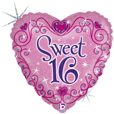 Folienballon Herz Sweet 16