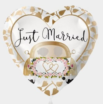 Folienballon - 45cm - Just married Auto Gold